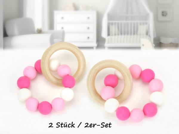 """2er-Set Greiflinge """"Perlenring"""" rosa/pink"""