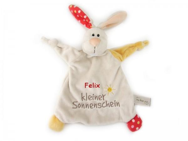 """Kuscheltuch / Schmusetuch Hase """"kleiner Sonnenschein"""" - Kuscheltier mit Namen"""