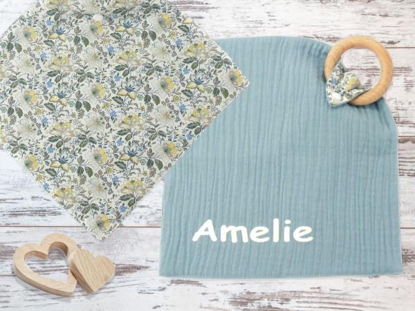 """Babyspieltuch """"Blümchen"""" individuell mit Vornamen personalisiert, Schmusetuch Kuscheltuch blau mit Blumenmotiv"""