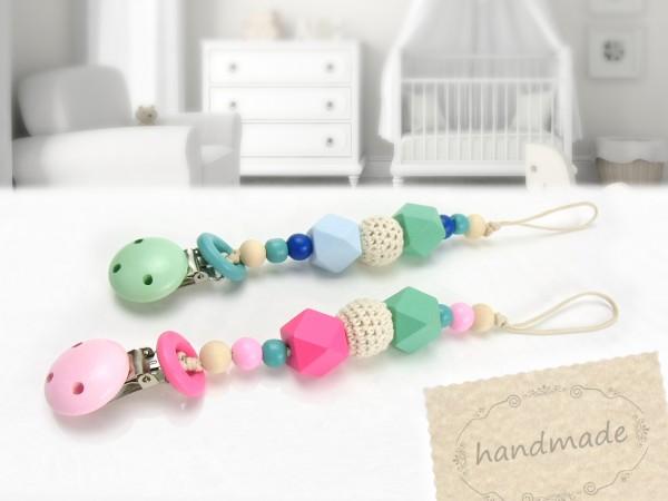 Schnullerkette / Schnullerhalter in rosa/pink oder blau/grün